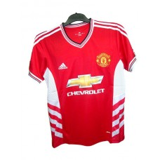 Manchester United-red-white stripe on shoulder half