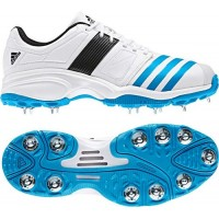 Adidas-Spike-White/blue-Adult Cricket Shoe